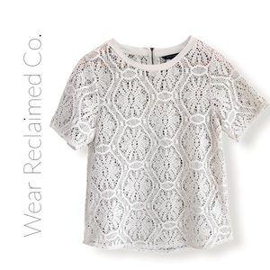 BANANA REPUBLIC Cream White Crochet Lace Layer Top